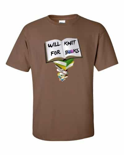 Will Knit for Books T-Shirt (chestnut)