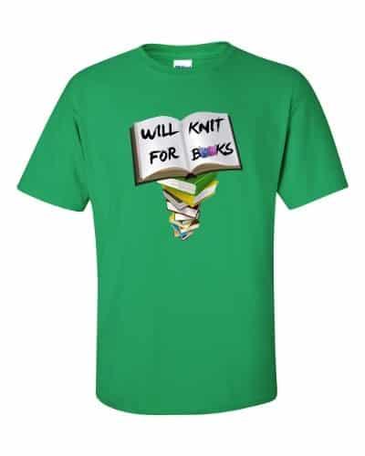 Will Knit for Books T-Shirt (shamrock)