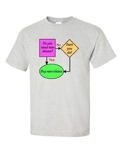 New Shoes Flowchart T-Shirt (grey)