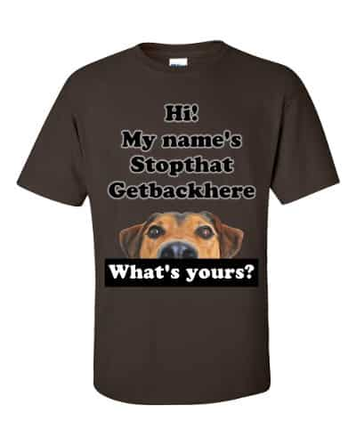 My Name's Stopthat Getbackhere T-Shirt (chocolate)