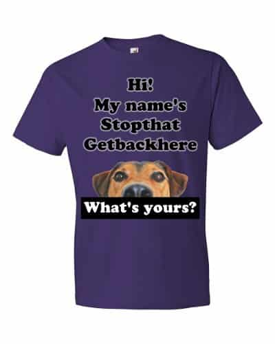 My Name's Stopthat Getbackhere T-Shirt (purple)