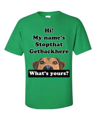 My Name's Stopthat Getbackhere T-Shirt (shamrock)