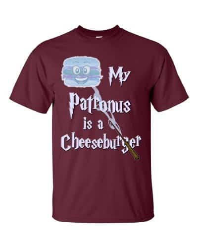 My Patronus is a Cheeseburger T-Shirt (maroon)
