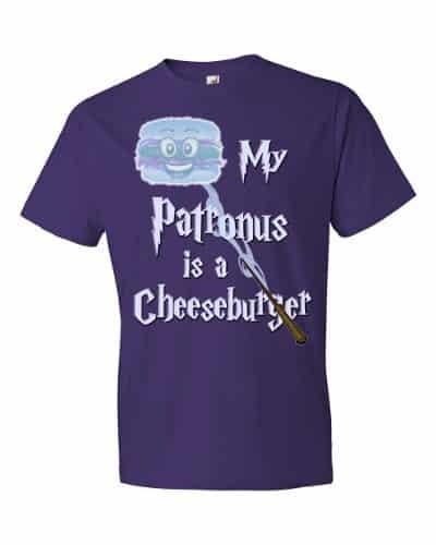 My Patronus is a Cheeseburger T-Shirt (purple)