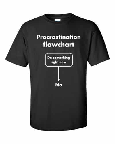 Procrastination Flowchart T-Shirt (black)