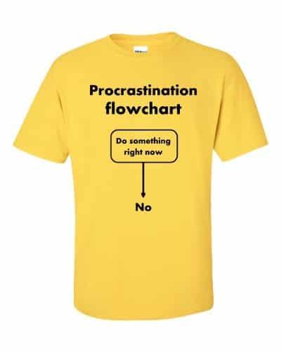 Procrastination Flowchart T-Shirt (daisy)