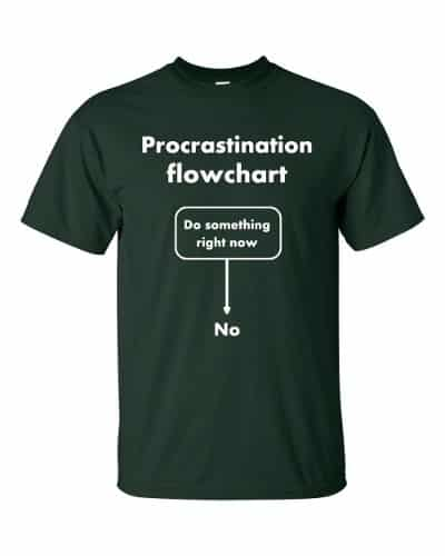 Procrastination Flowchart T-Shirt (forest)