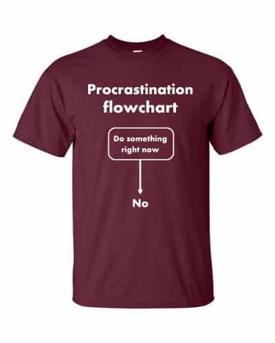 Procrastination Flowchart T-Shirt (maroon)