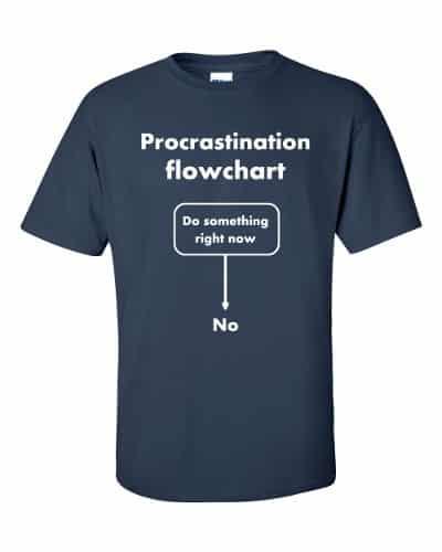 Procrastination Flowchart T-Shirt (navy)