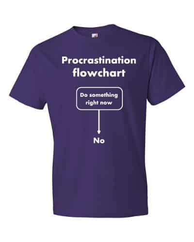 Procrastination Flowchart T-Shirt (purple)