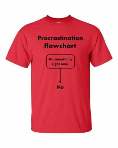 Procrastination Flowchart T-Shirt (red)