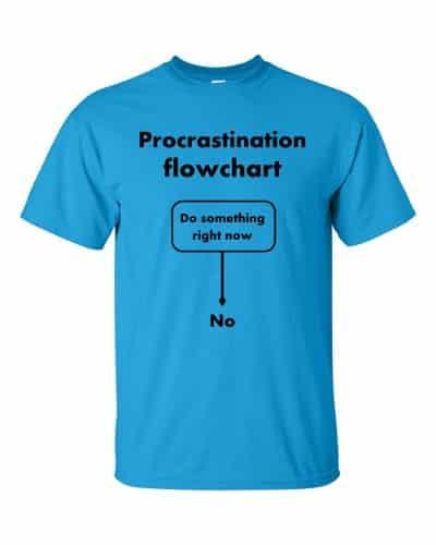 Procrastination Flowchart T-Shirt (sapphire)