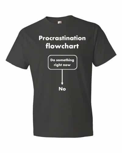 Procrastination Flowchart T-Shirt (smoke)