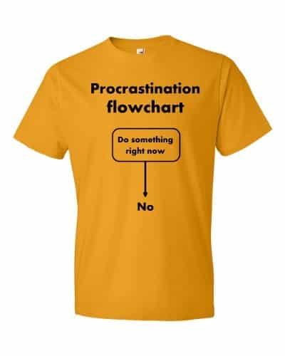 Procrastination Flowchart T-Shirt (tangerine)