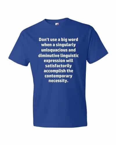Don't Use Big Words T-Shirt (royal)